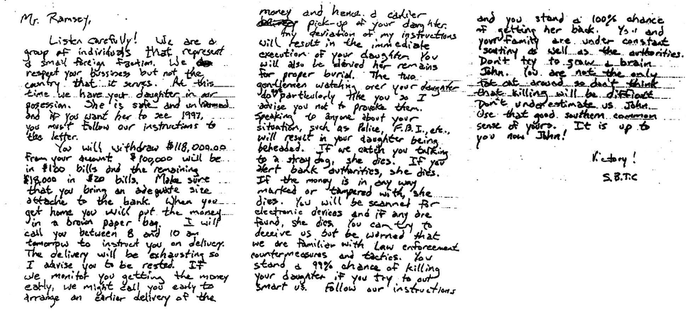 The lengthy ransom note found at the Ramsey home.