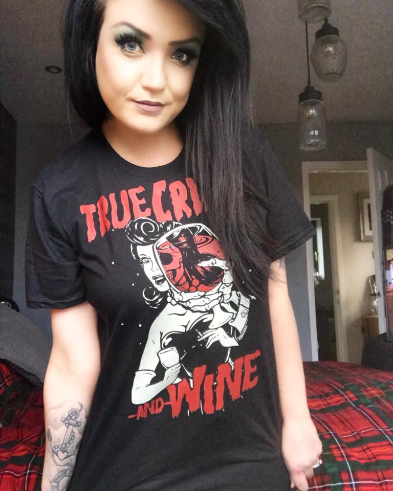 Murder Apparel's True Crime and Wine T-shirt.