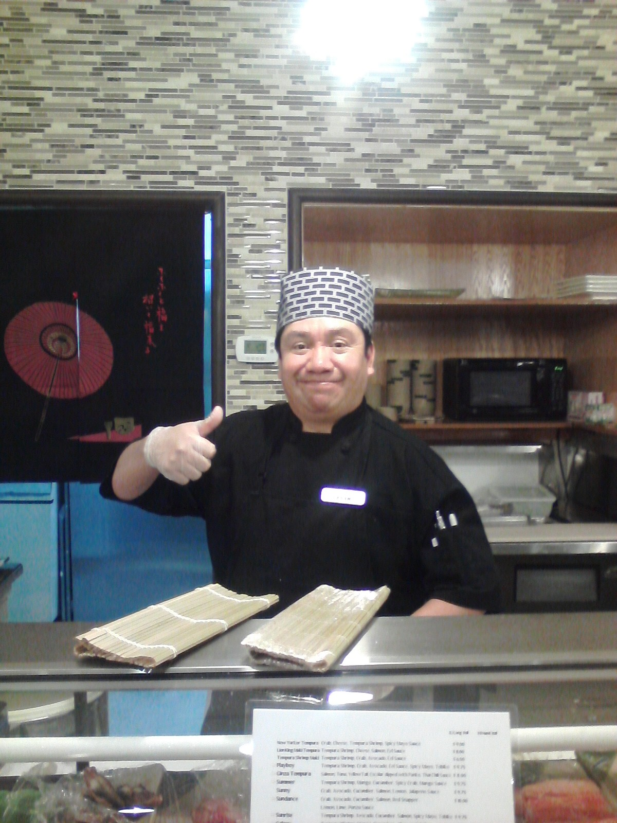 This is Cesar one of the Sushi Chefs. He is from Mexico and also speaks some Japanese.