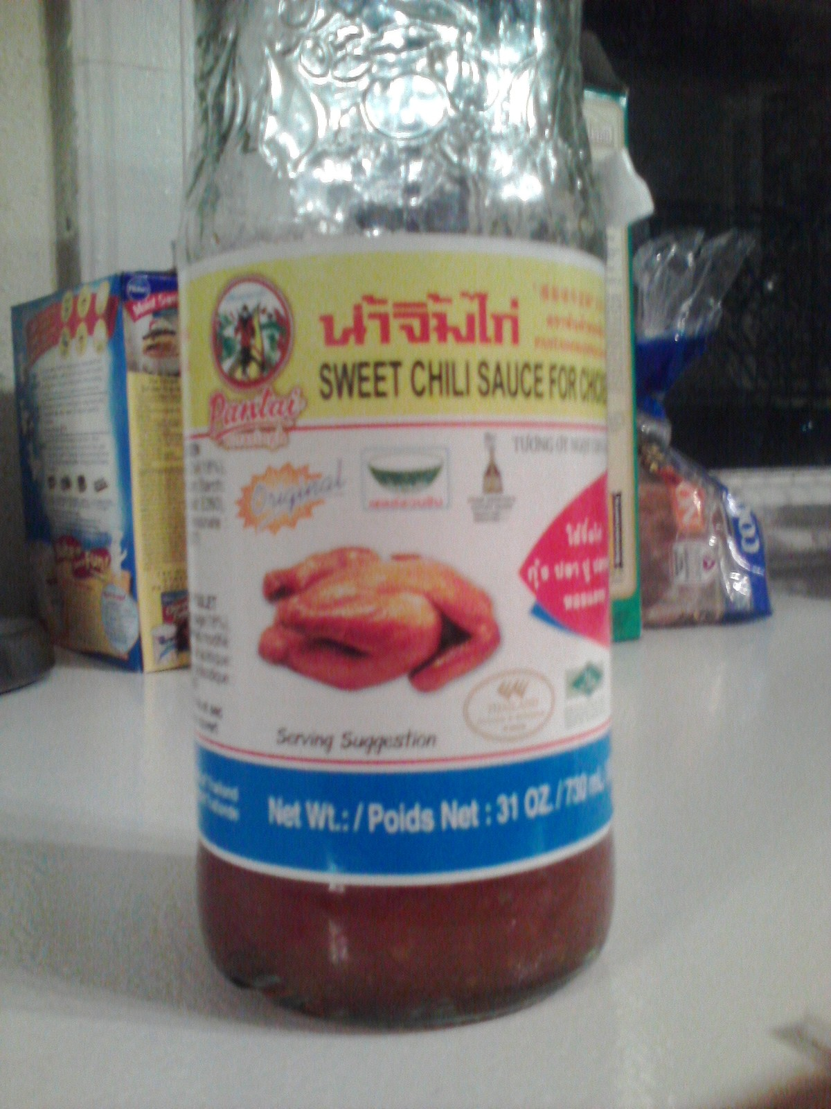 We put this on eggs, lumpia and whatever. There is also a jafron banana sauce that you can use like ketchup and it is red too. This sweet sauce is almost addicting. I bought a bottle for my brother in law who is Guatemalan and now they have to go buy it because he likes it so much.