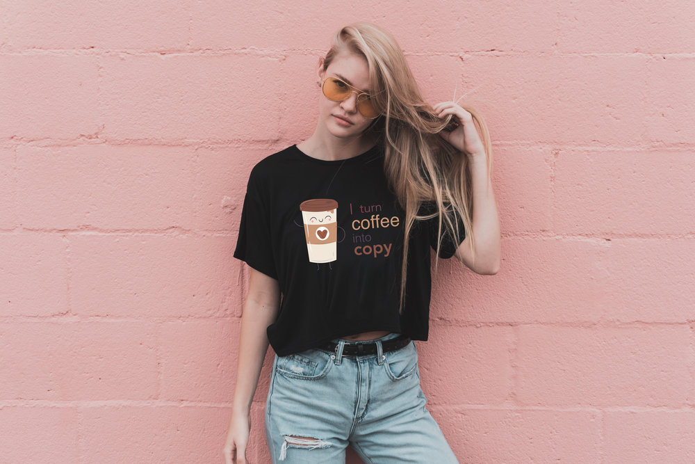 Coffee into Copy - Girls Black Tee.png