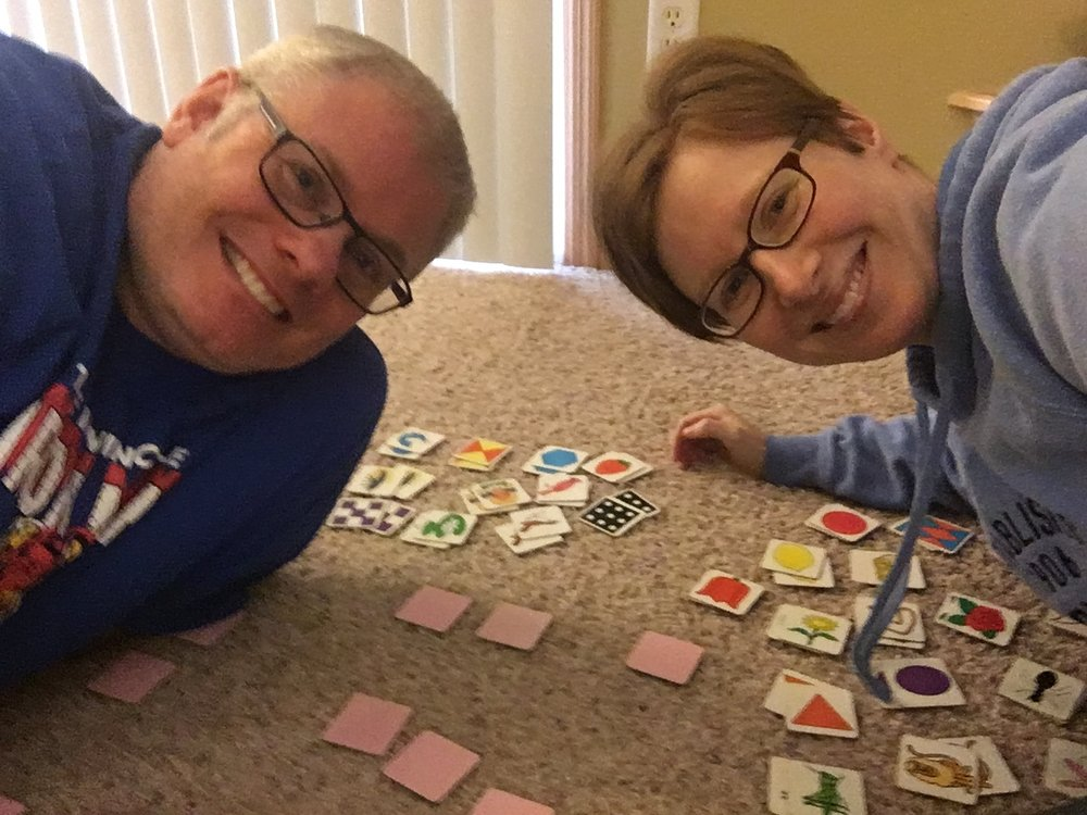 My husband, Dennis, and I playing our first game of Memory together.