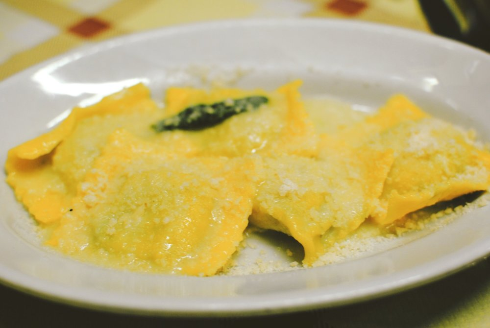 Ravioli with a butter sage sauce.