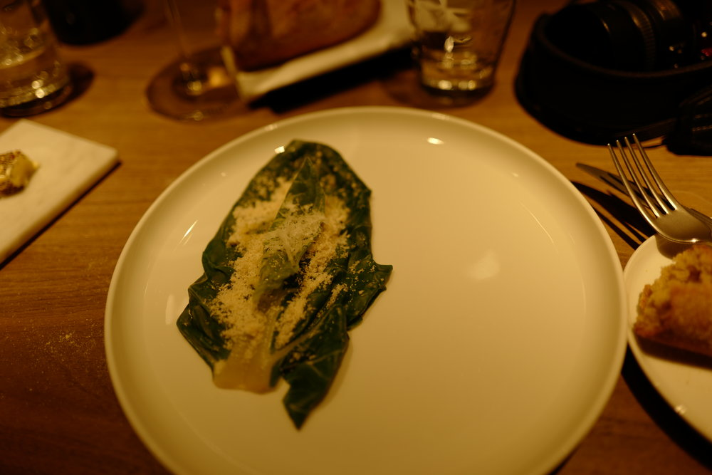 The swiss chard with parmesan (one of the courses).
