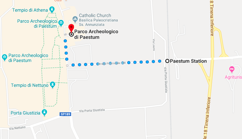 Get off the station, follow signs to Paestum, keep on walking and you'll hit the ruins