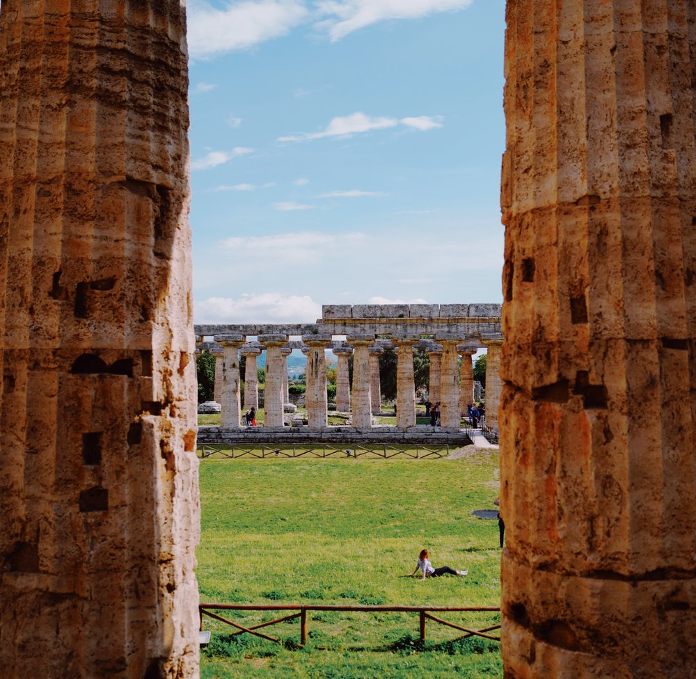Looking out from the Temple of Hera II into Temple of Hera I