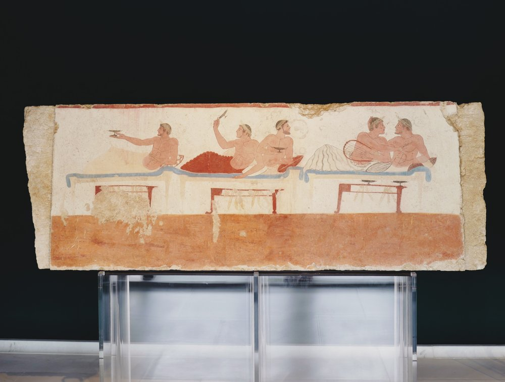 One of the walls of the Tomb of the Diver (Banquet Scene)
