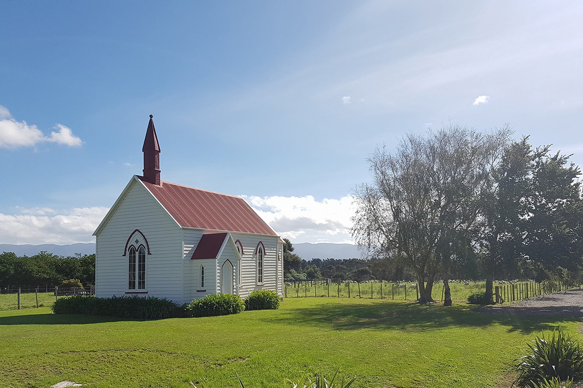 Wairarapa church in the sunshine, Burnside Church.