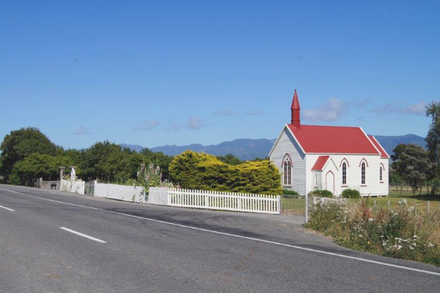 Wairarapa church in the sunshine, Burnside Church