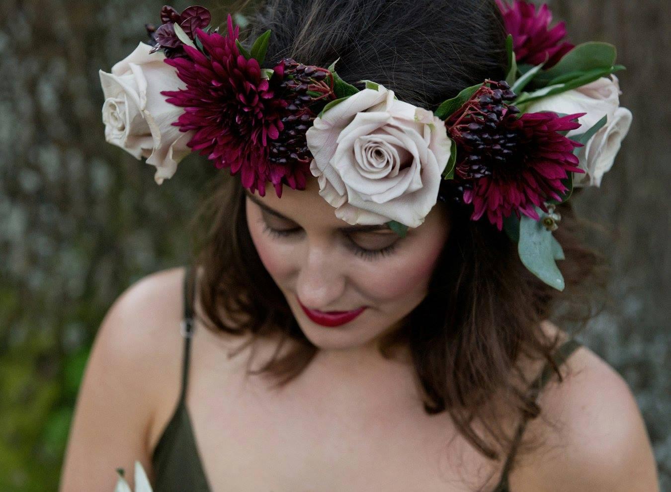 Burgundy floral headpiece