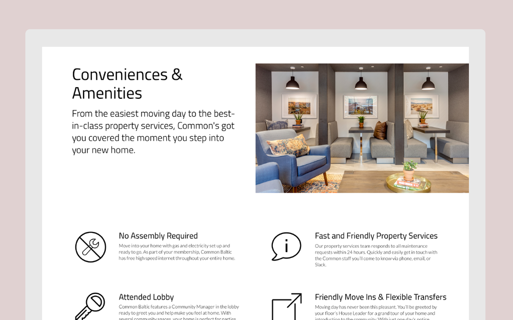 A new section was added to showcase the features of each home