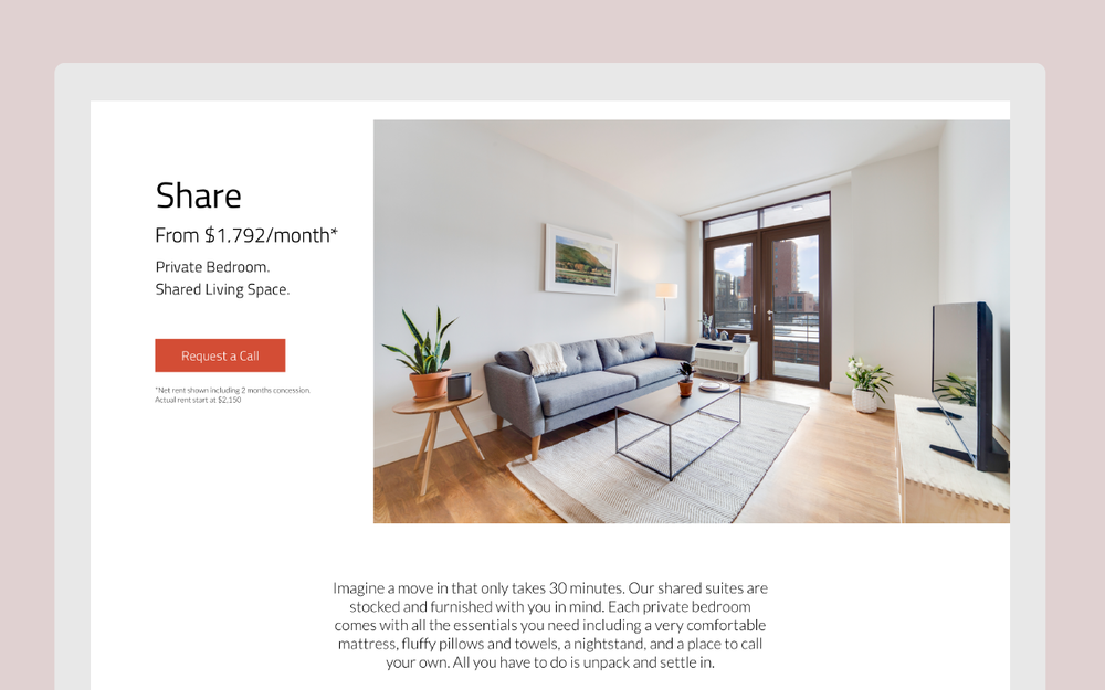 The description of this home's different living options now feature pricing and other informations more prominently