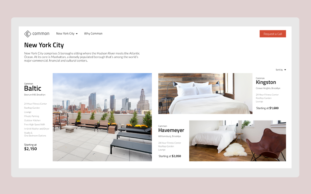 The final navigation redesign focuses on each cities and the key information of each home
