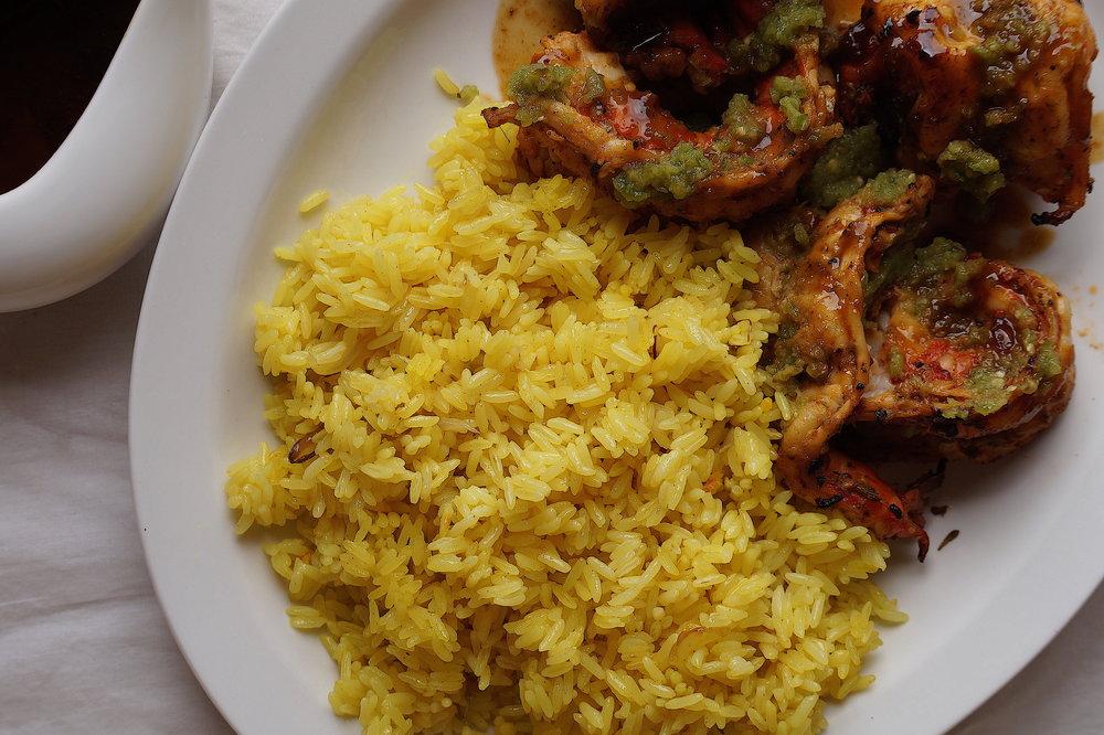 Turmeric Rice, Grilled Prawns