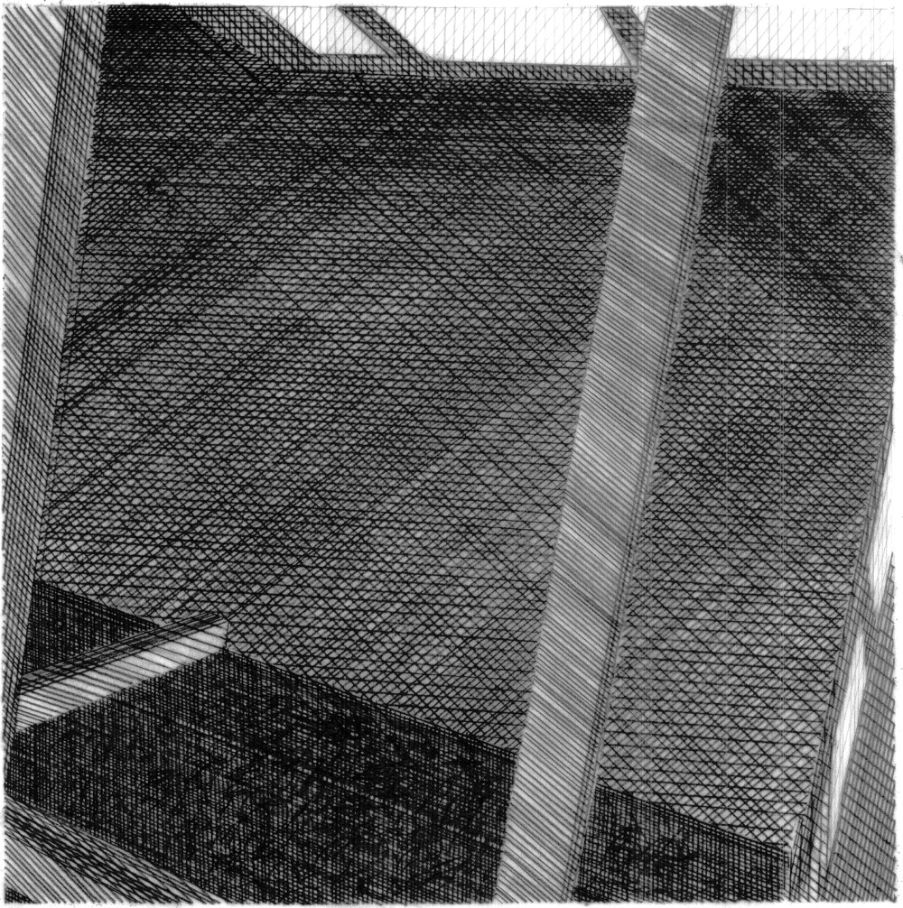 Danièle Hromek , Untitled  (Eisenmann by hand, speculative design) , 2013, pencil on vellum, lightbox, 125x120x440cm, courtesy the artist.