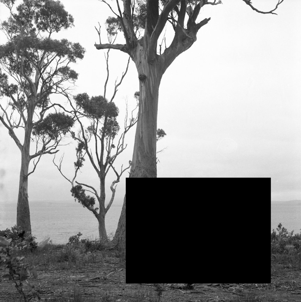 James Tylor ,  (Erased Scenes) From an Untouched Landscape #8, 2014.  Boat Harbour Creek, South Australia, Kaurna/Ramindjeri Land .  Inkjet print on hahnemuhle paper with hole removed to a black velvet void, 60 x 60cm (framed). Courtesy the artist and Vivien Anderson Gallery.