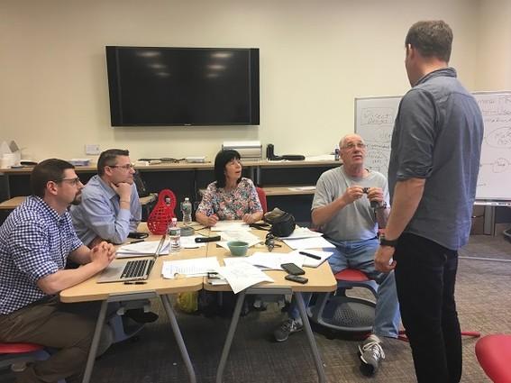 L-R: Jason Frasca, David Postolski, Dianne Delikat, Robert Delikat, Iain Kerr (standing) | Photo:Esther Surden of New Jersey Tech Weekly