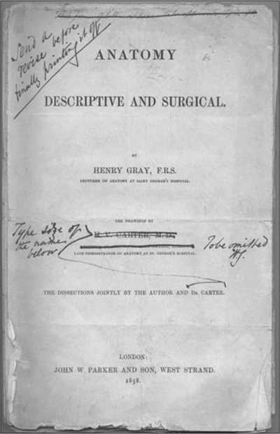 Gray's markings on the first edition's title page, downplaying Carter's contributions and his titles