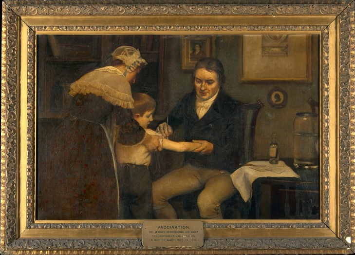 Dr Jenner performing his first vaccination on James Phipps, a boy of age 8. May 14th, 1796. Painting by Ernest Board (early 20th century).