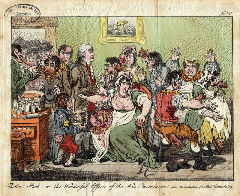 Cartoon by British satirist James Gillray from 1802 showing vaccination hysteria