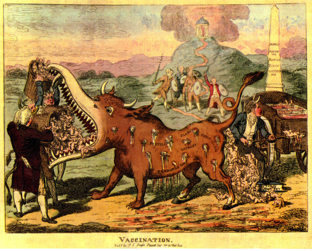 An 1807 cartoon showing 'The Vaccination Monster'