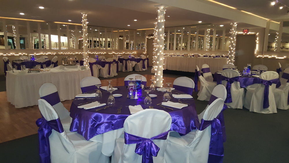 Linen:  - Napkins are available in a variety of colors for seated functions. Table coverings are automatically white, and tables that require skirting (cake, gift, book, etc) are also skirted in white. Additional decorations, such as seat covers, chair sashes, colored table linens, multiple layered linens, etc. are available for a nominal charge.