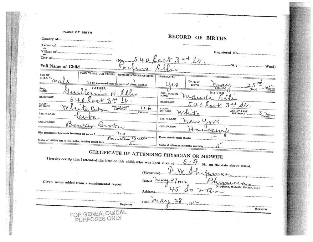 Children's Birth Certificates