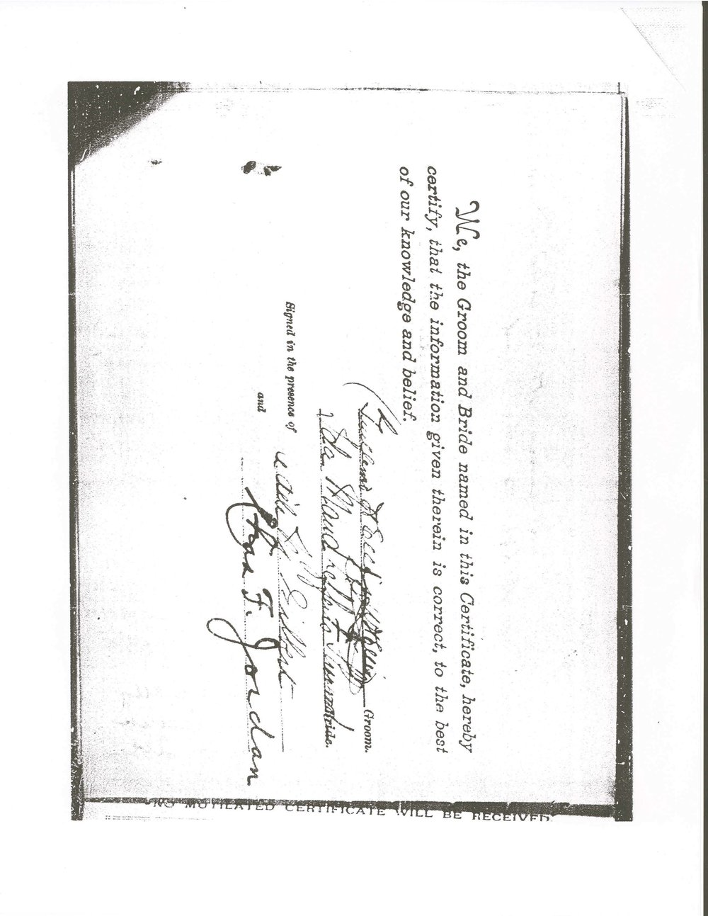 Marriage Certificate, 1903