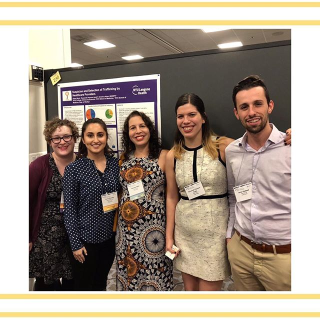 """We'd like to give another huge shoutout to our donors who were key in allowing us to send 4 lab members to the ISTSS conference in Washington D.C. this past weekend! Pictured here is Dr. Ades (center) and lab members (left to right) Emily, Anna, Savannah & Brian.  Emily gave a poster presentation on the """"Assessment of Trauma History in the Treatment of Chronic Pelvic Pain""""; Anna gave a poster presentation on the """"Violence Experienced by Women Applying for Asylum Through the Bellevue Program for Survivors of Torture""""; Savannah gave poster presentations on """"Suspicion and Detection of Trafficking by Healthcare Providers"""" & """"Prevalence of Sexual Trauma Among Women Presenting for Outpatient Ob/Gyn Care in an Urban, Low-income Health Facility""""; Brian gave a poster presentation on """"Diagnoses of Major Depressive Disorder and Post-Traumatic Stress Disorder among Patients at the EMPOWER Clinic"""". #istss2018"""