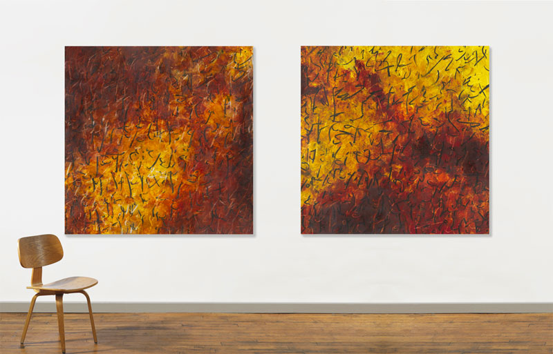 "Solomon's Journal – views in gallery  ©2007 48.5"" x 48.5"" x 2"", 123.2cm x 123.2cm x 5cm ; oil on sized h.p. Arches 365 gsm on panel"