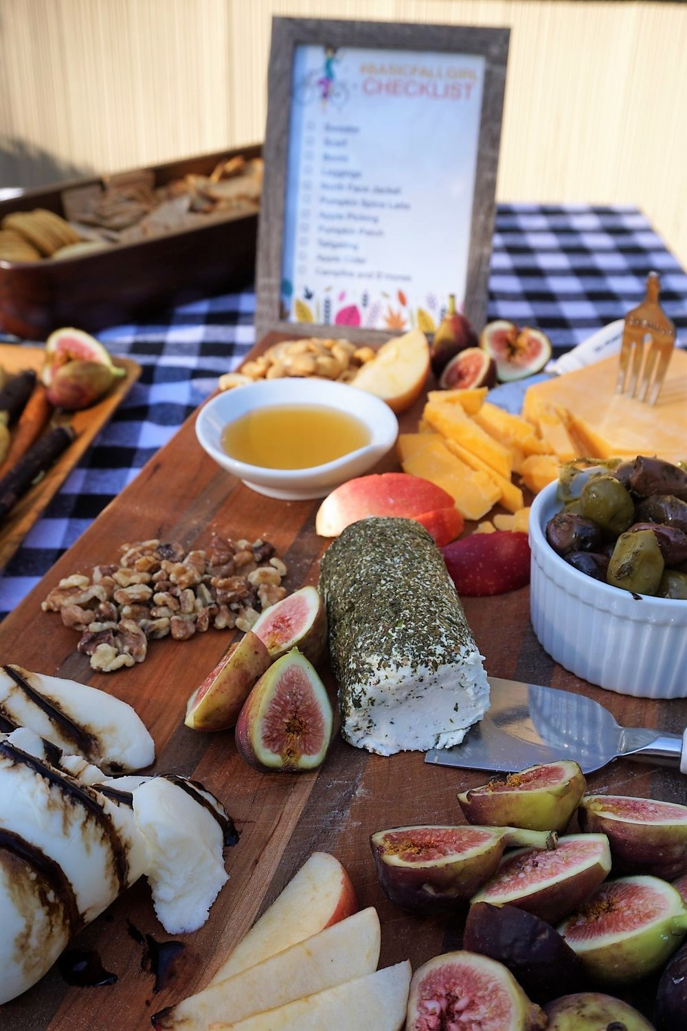 Cheese boards are always a winner at my parties. Click here to re-create this fun fall party! | Legally Crafty #fallparty #bonfire #girlsnightin #girlsnight #basicfallgirl