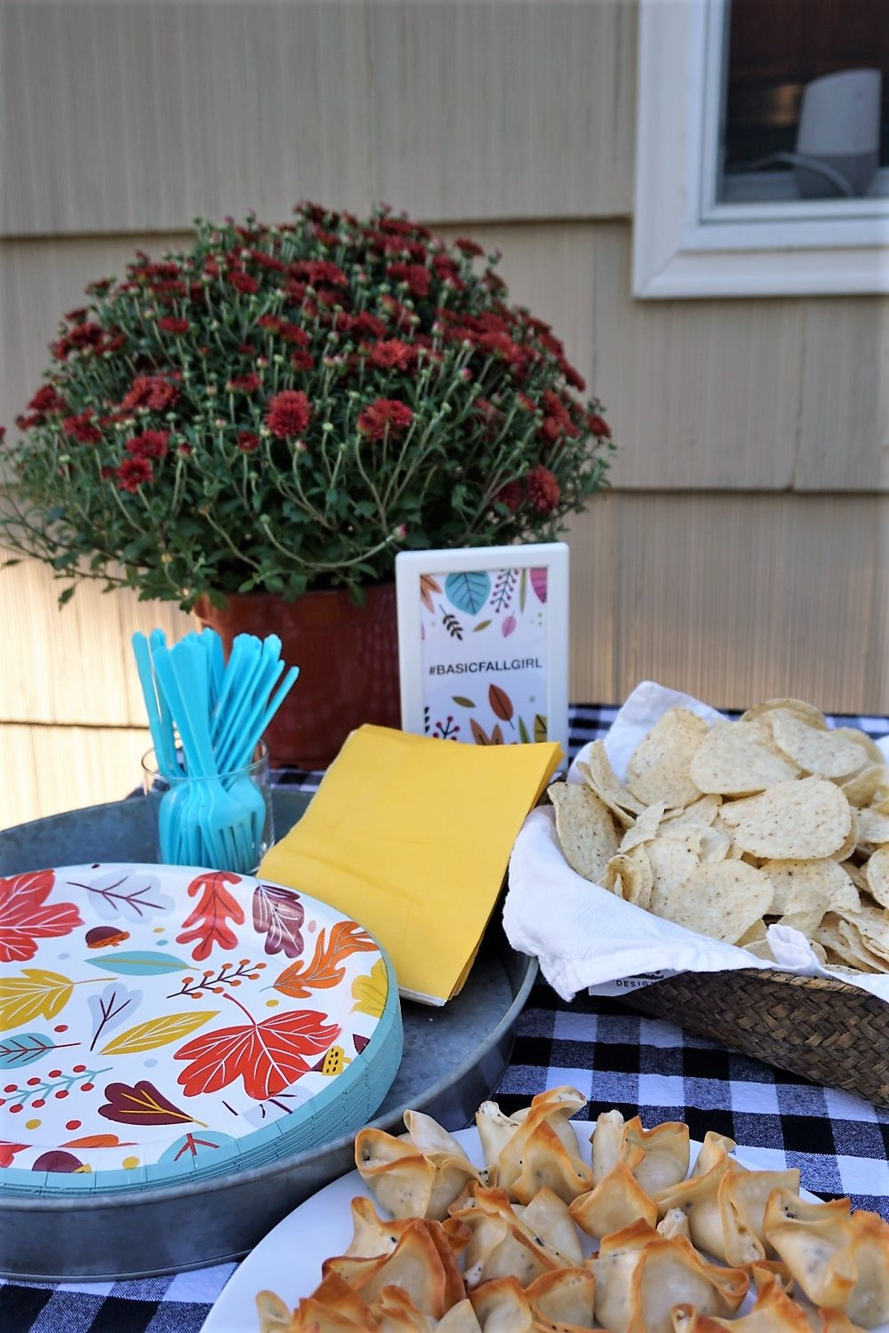 I love when you find coordinating plates at Target! Click here to re-create this fun fall party! | Legally Crafty #fallparty #bonfire #girlsnightin #girlsnight #basicfallgirl