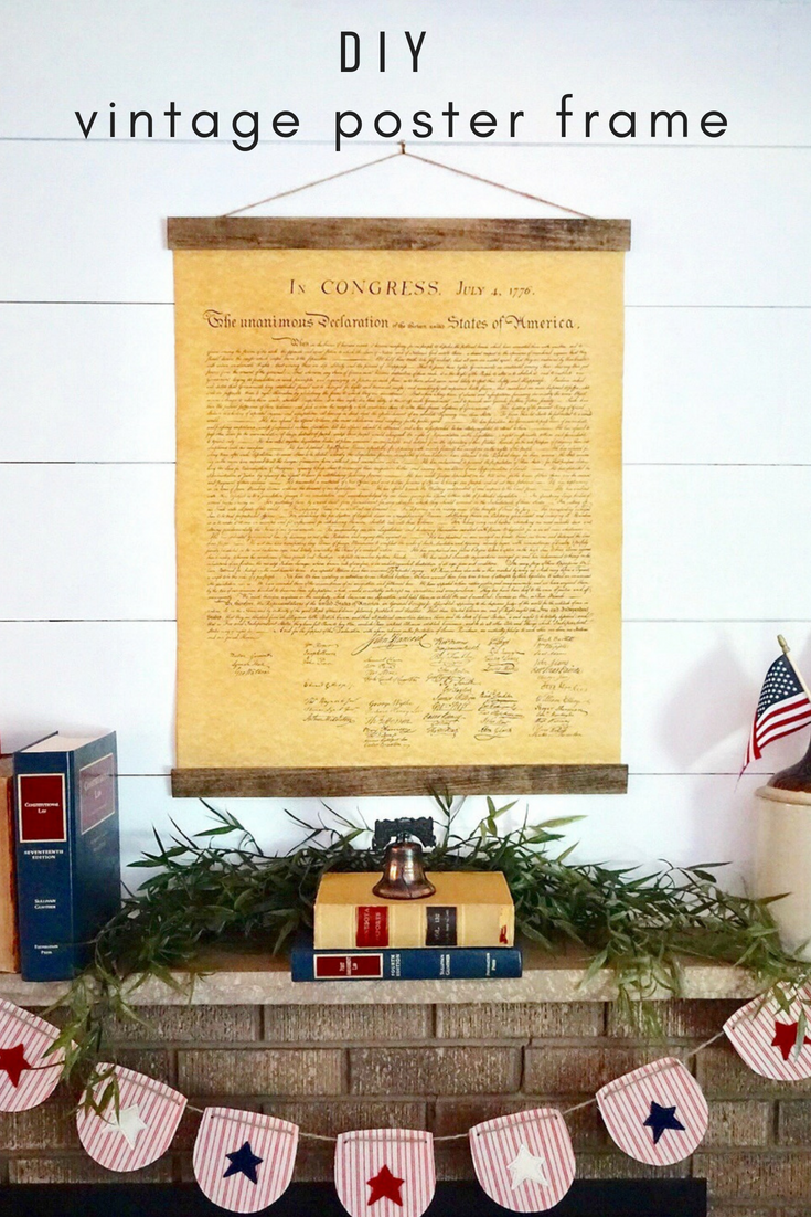 Create the perfect 4th of July mantel focal point with a DIY Declaration of Independence poster print. Click here for the full tutorial and supply list to re-create this vintage look! #4thofjuly #4thofjulymantel #4thofjulydecor #fourthofjuly #fourthofjulydecorations #4thofjulycrafts #DIY4thofjuly