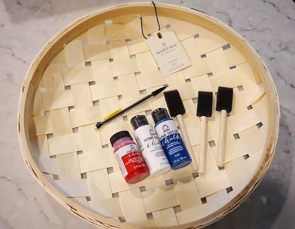 Plain basket can be transformed into flag decor with red, white, and blue, chalk paint.