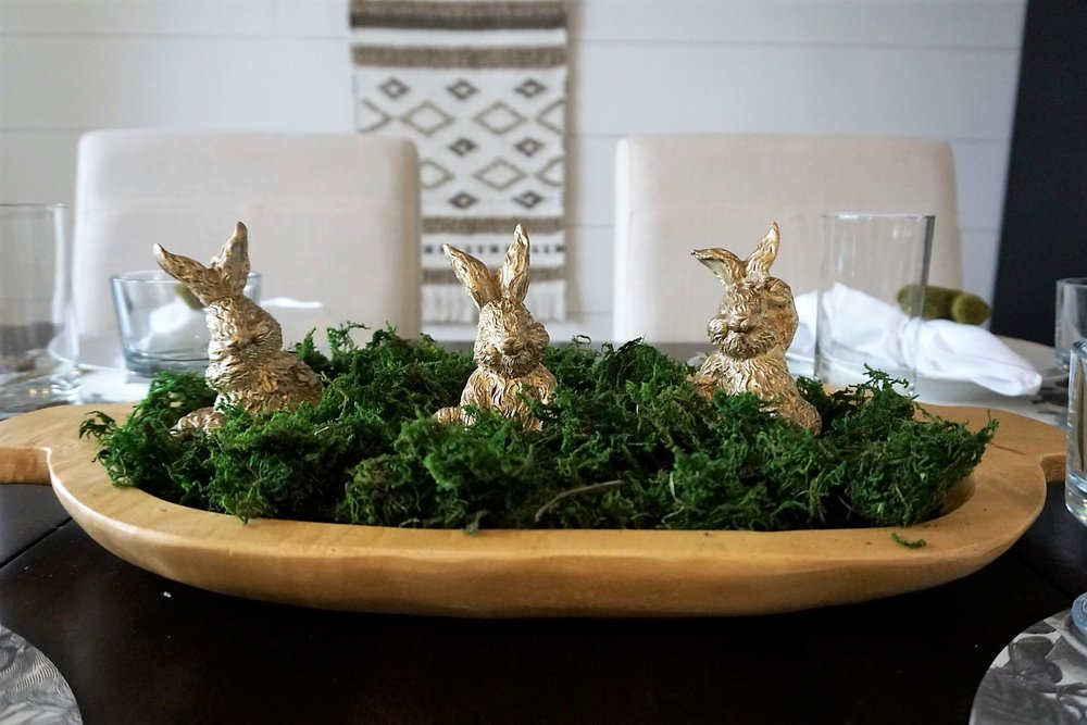 Gold bunnies, moss, and dough bowl make a perfect Easter centerpiece.