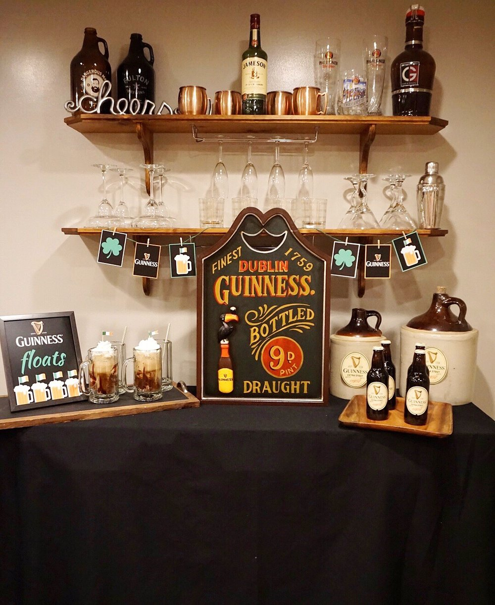 Guinness bar for St. Patrick's Day party.
