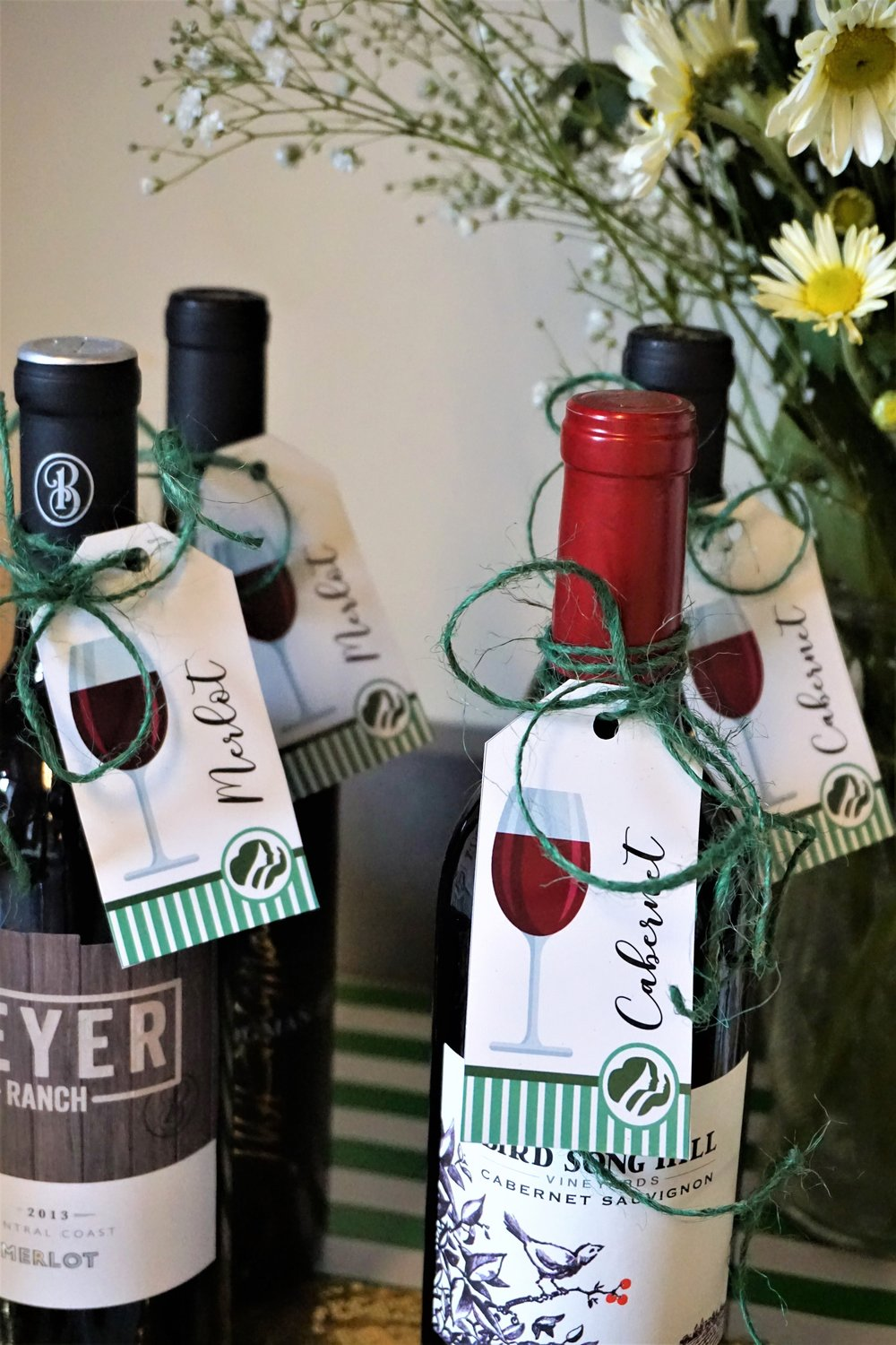 Girl Scout cookie and wine pairing wine tags.