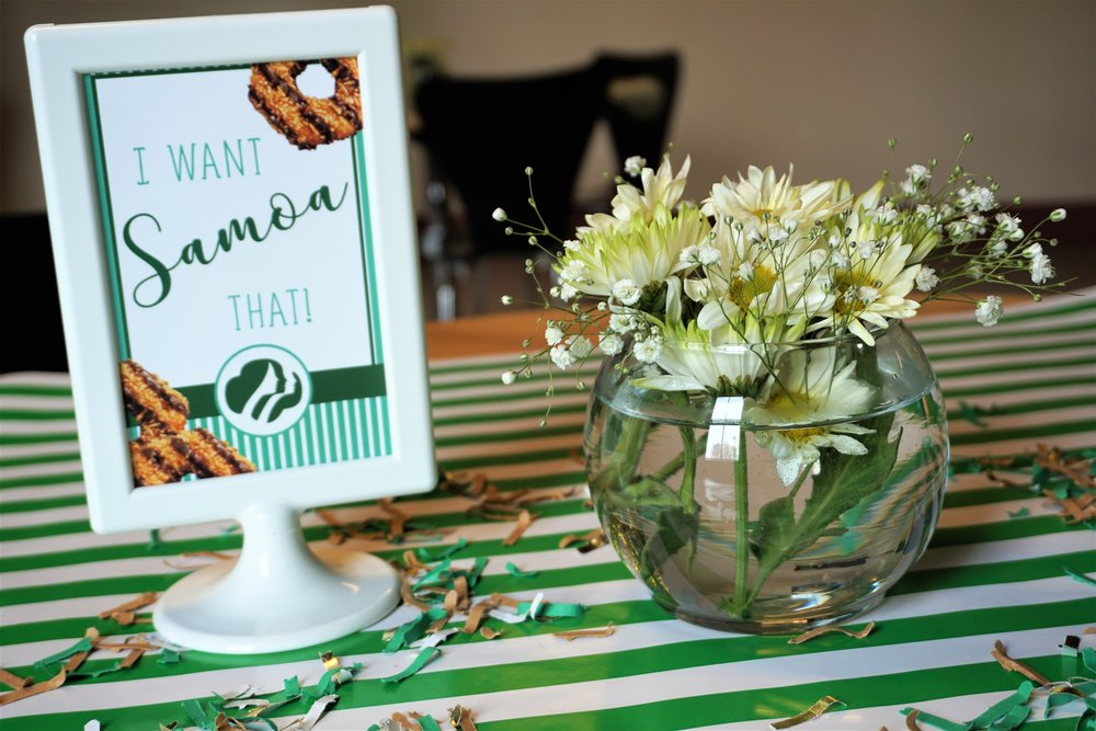 Samoa signage for a Girl Scout themed party.