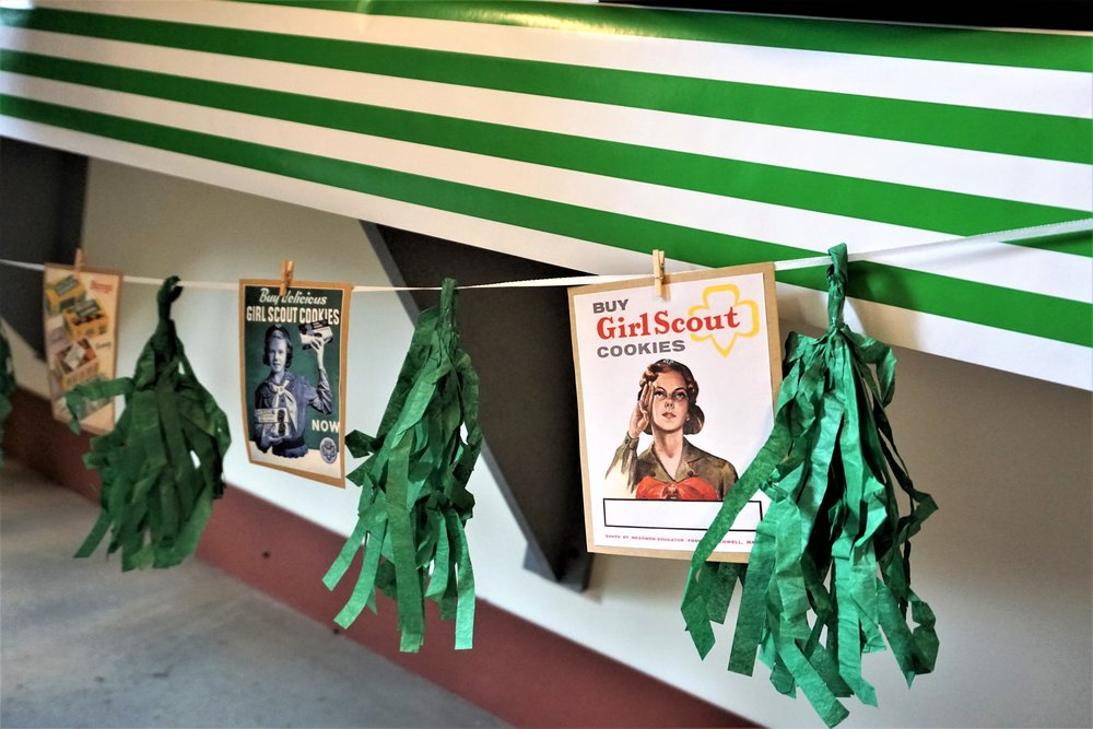 Make a vintage banner with old Girl Scout ads and a Dollar Tree green fringe banner.