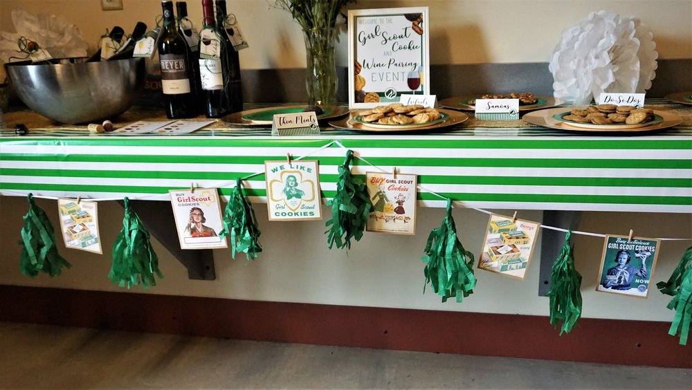 DIY vintage Girl Scout banner made from Dollar Tree fringe banner and printed vintage cookie ads.