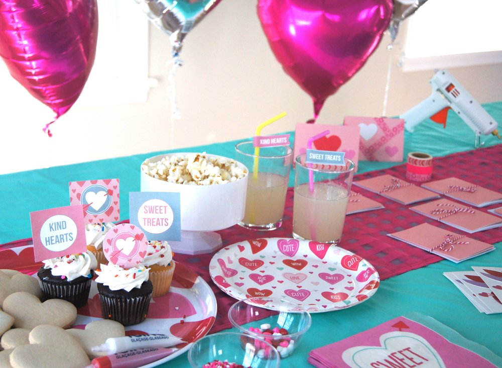 A Valentine's Day get together can be full of treats and crafty projects.