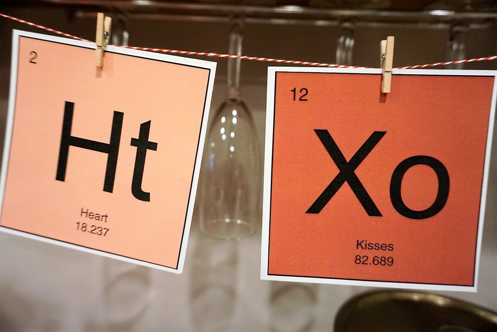The Periodic Table of Love includes hearts and kisses on this free printable Valentine's Day banner.