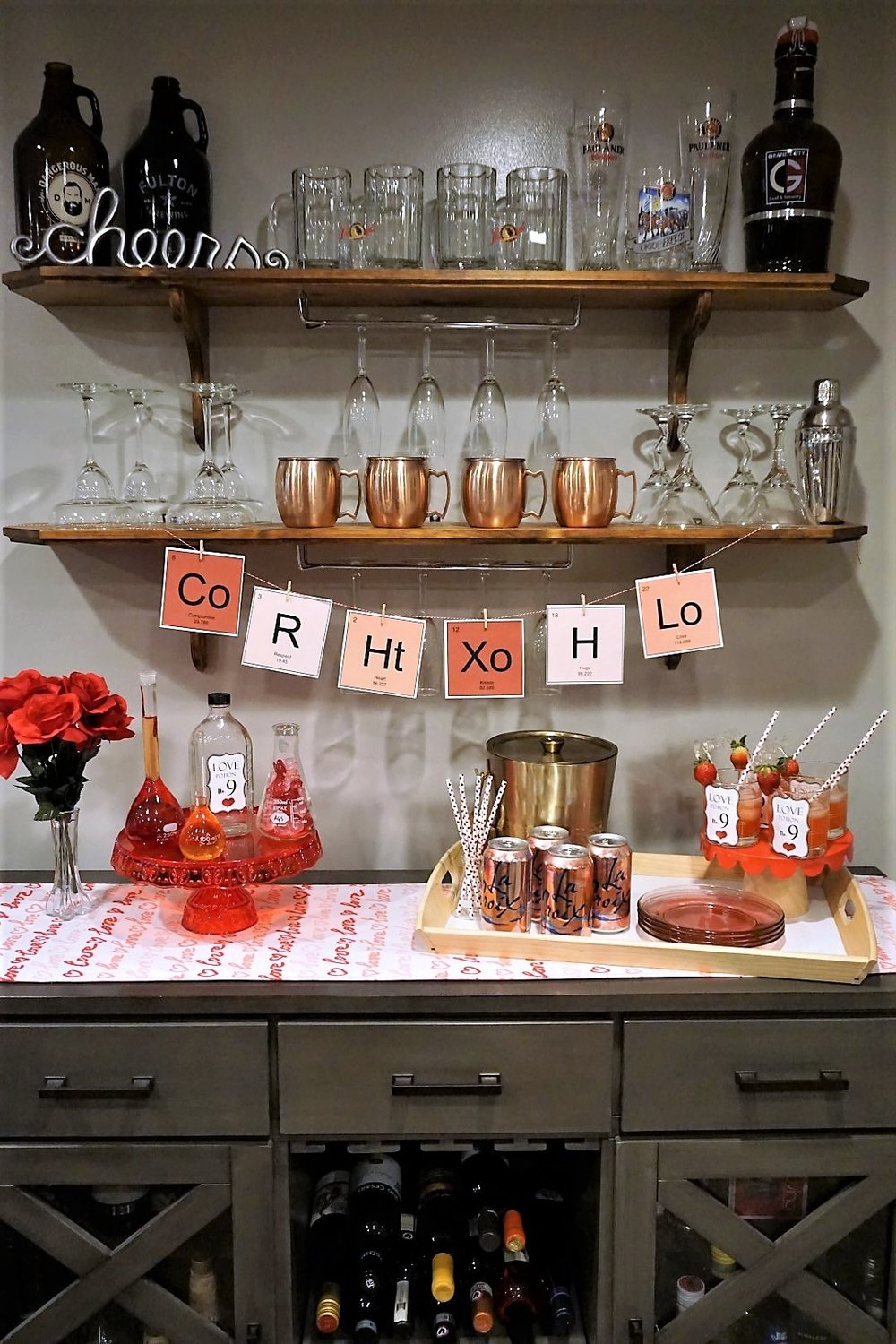 Create a Valentine's Day drink station with a fun cocktail recipe and free Love Potion themed printables! Click here to download your free banner and drink tags.