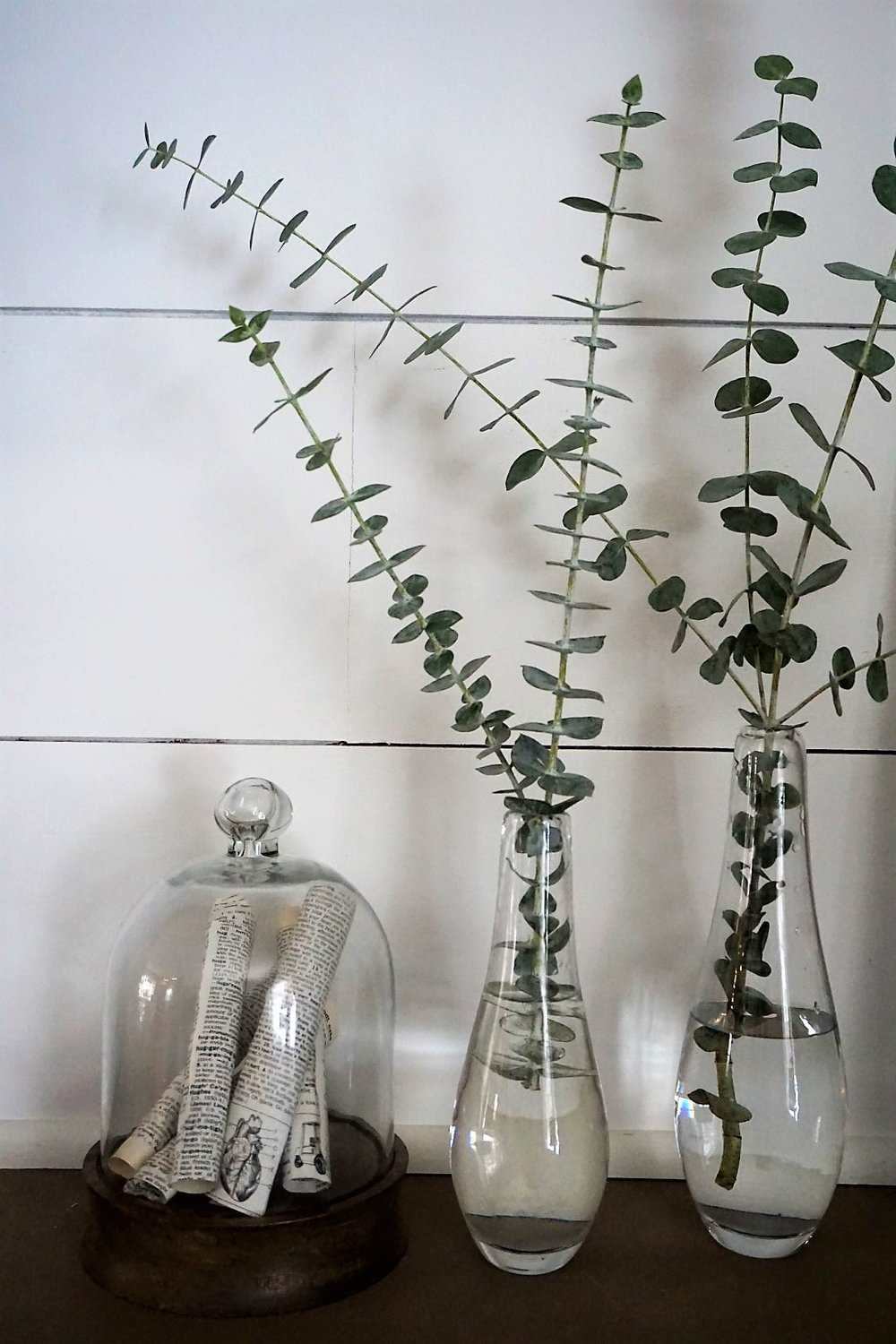 Eucalyptus looks perfect in clear glass thrift store vases.
