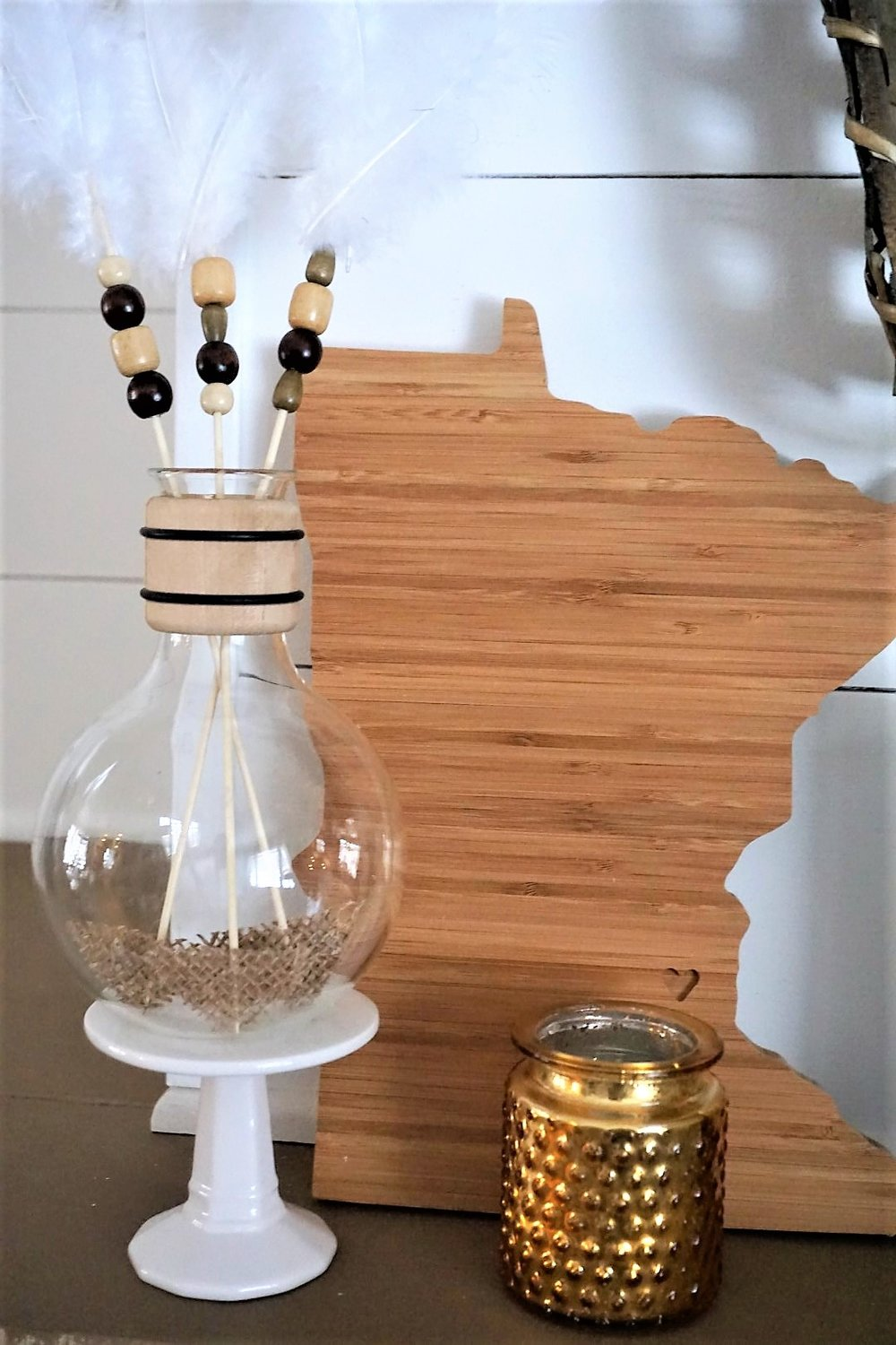 Wooden Minnesota with DIY boho cupid's arrows.