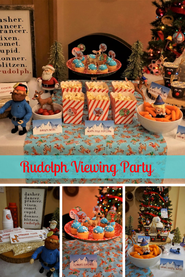 Gather the family and watch the classic Rudolph the Red-Nosed Reindeer with this fun viewing party full of themed snacks, viewing glasses, and a photobooth. Click here to learn how to re-create the look! #christmasparty #christmasmovies #rudolph #movienight