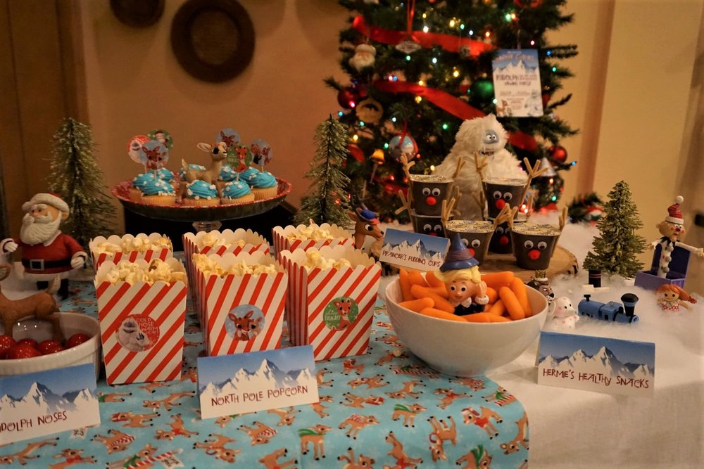 Theme named snacks are a must for a Rudolph the Red-Nosed Reindeer movie night.