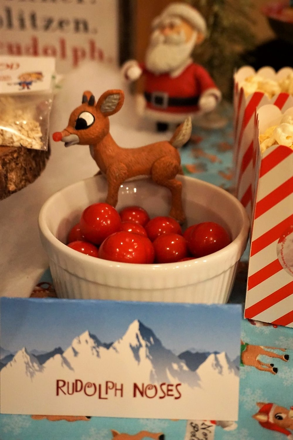 Rudolph figure and candy gumballs make a perfect themed treat.