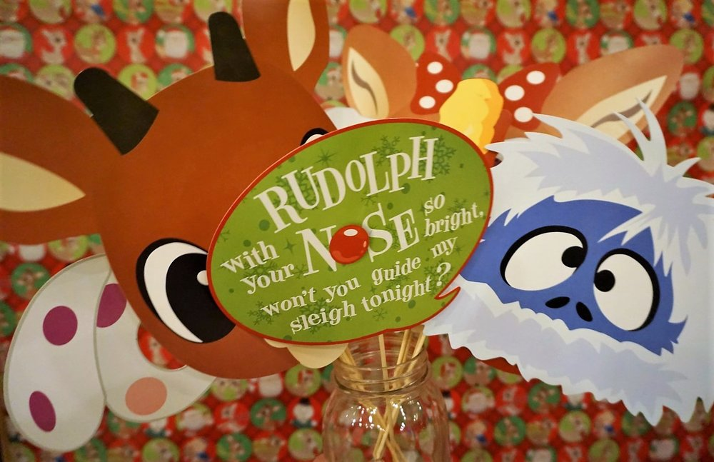 Rudolph the Red-Nosed Reindeer photobooth props.