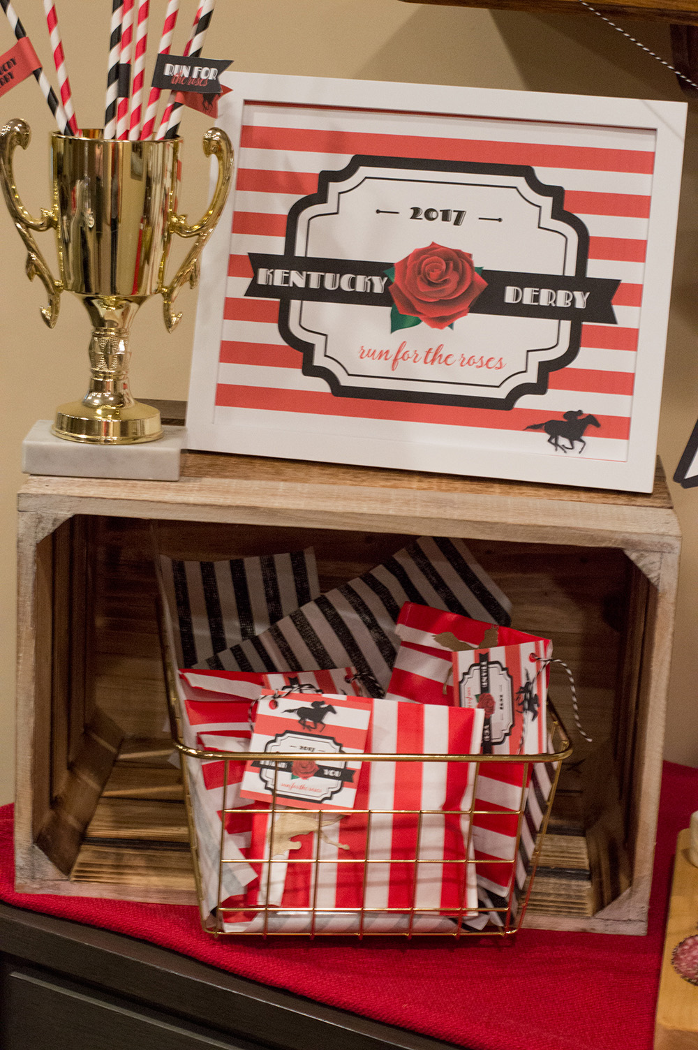Using vintage trophies for paper straws is the perfect addition to any Kentucky Derby party.